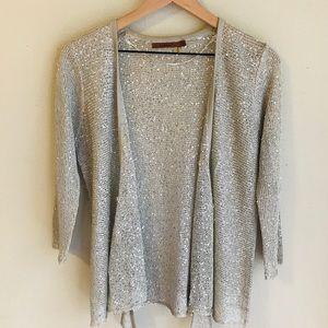 Belldini Silver Sparkly Sequin Knit Cardigan